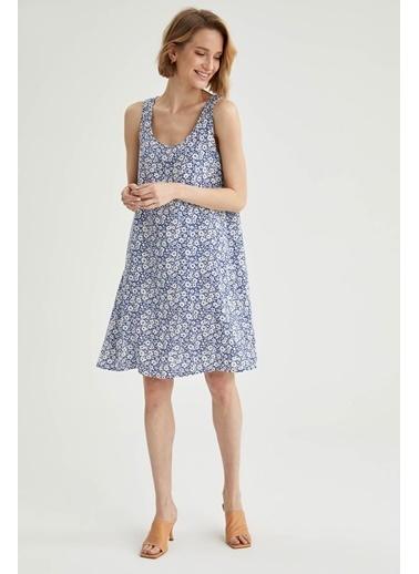 DeFacto Çiçek Desenli Relax Fit Kalın Askılı Mini Elbise Mavi